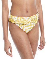 Carmen Marc Valvo - Tie-front Palm-leaf Print Swim Bikini Bottoms - Lyst