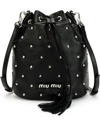 215f6b56922b Hot Miu Miu - Leather Studded Bucket Bag - Lyst