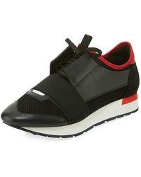 bda48fb76c56 Lyst - Balenciaga Men s Race Runner Mesh   Leather Sneaker in Black ...