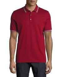 Ferragamo - Men's Cotton Piqué 3-button Polo Shirt With Gancini Detail On Collar - Lyst