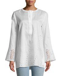 Lafayette 148 New York - Haisley Gemma Cloth Blouse With Eyelet Trim - Lyst