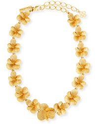 Oscar de la Renta - Brushed Flower Necklace - Lyst