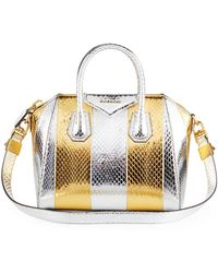 2b3ee27e9b Givenchy - Antigona Small Metallic Snakeskin Satchel Bag - Lyst
