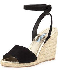 Prada - Suede Wedge Espadrille Sandals - Lyst