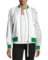 N°21 - Zip-front Sports Bomber Jacket With Lace Sleeve - Lyst
