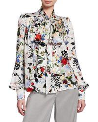 Erdem - Lucien Tie-neck Long-sleeve Floral-print Silk Blouse - Lyst