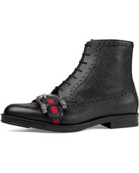 Gucci - Leather Brogue Boot With Web - Lyst