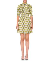 Prada - All Designer Products - Floral-print Half-sleeve Mini Dress - Lyst