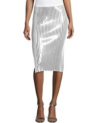 Cedric Charlier - Sequin-striped Knit Skirt - Lyst