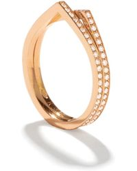Repossi - Antifer Two-row Ring With Diamonds In 18k Gold - Lyst