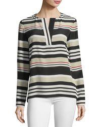 Lafayette 148 New York - Joan Striped Long-sleeve Silk Blouse - Lyst