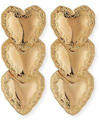 Fallon - Heart Drop Earrings - Lyst