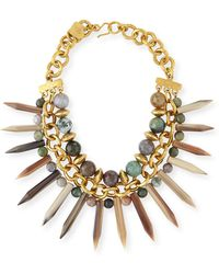Ashley Pittman - Kali Mixed Horn Beaded Spike Necklace - Lyst
