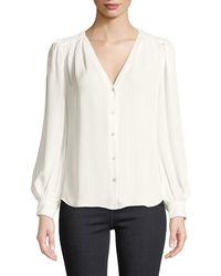 L'Agence - Giana Pleated Button-front Silk Blouse - Lyst