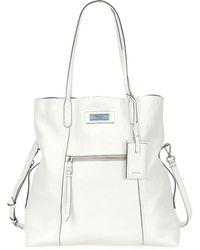 42c8ed0f390f Prada - Glace Calf Etiquette Shoulder Tote Bag - Lyst