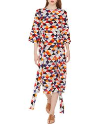 Akris - Elbow-sleeve Diamond-print Silk Crepe Midi Dress With Tie-waist Detail - Lyst