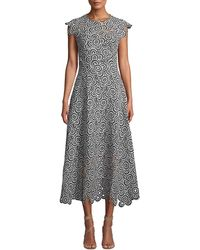 Lela Rose - Circle-lace Cap-sleeve A-line Midi Dress - Lyst