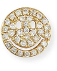 Sydney Evan | 14k Pavé Diamond Happy Face Single Stud Earring | Lyst