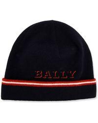 Bally - Men's Contrast-striped Wool Beanie Hat - Lyst