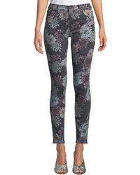 J Brand - 620 Floral-print Mid-rise Super Skinny Jeans - Lyst