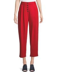 A.L.C. - Russel Cropped Button-fly Crepe Pants - Lyst