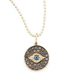Sydney Evan - Small Diamond Evil Eye Medallion Necklace - Lyst