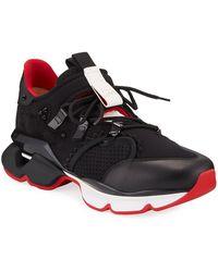 Christian Louboutin - Black Red-runner Flat Sneakers - Lyst