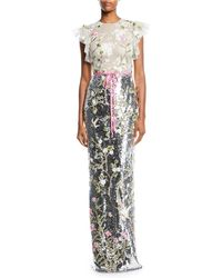 Monique Lhuillier - Ruffled Cap-sleeve Floral-embroidered Tulle Bodice Sequin Column Gown - Lyst