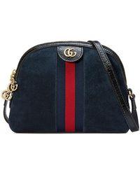 5bcb1e629 Gucci Small Linea Chain Shoulder Bag in Black - Lyst