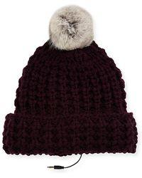 Rebecca Minkoff - Chunky Tuck Beanie Hat W/ Fur Pompom - Lyst
