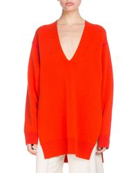Proenza Schouler - V-neck Long-sleeve Oversized Wool Silk-cashmere Tunic Jumper - Lyst