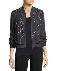 Elie Tahari - Brandy Embellished Silk Bomber Jacket - Lyst