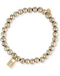 Sydney Evan - 6mm Beaded Pyrite Bracelet With Diamond Lock Charm - Lyst