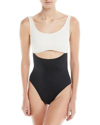 6df240dc8f8ae Solid   Striped - Natasha Peek-a-boo Colorblocked One-piece Swimsuit -