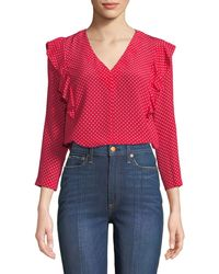 Rebecca Taylor - Dot-print V-neck Ruffle Top - Lyst
