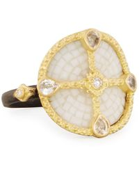 Armenta - Old World Mosaic Shield Ring With Diamonds & Sapphires - Lyst