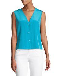 b71e3f902d450c Diane von Furstenberg Sleeveless Shoulder-knot Floral-print Silk Top ...