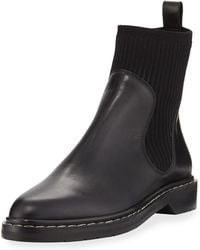 The Row - Fara Knit-trim Leather Booties - Lyst