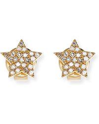 EF Collection - Pavé Diamond 14k Gold Star Stud Earrings - Lyst