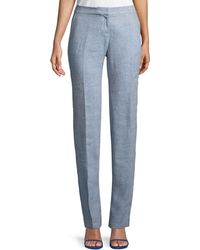 Lafayette 148 New York - Manhattan Chambray Straight-leg Trousers - Lyst
