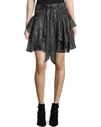 Halston - Metallic-striped Flounce Skirt - Lyst