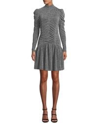 Rebecca Taylor - Ruched Long-sleeve Metallic Jersey Dress - Lyst