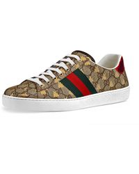 fc2b6a670fe Gucci Ace Bee Jacquard Low-top Sneaker in Blue for Men - Lyst