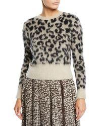 Max Mara - Leopard-print Alpaca-blend Sweater - Lyst