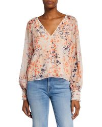 18295a9383f Ramy Brook - Constance Printed V-neck Long-sleeve Top - Lyst