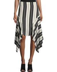 Joie - Esha Striped Silk Midi Skirt - Lyst