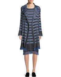 Issey Miyake - Button-front Striped Plisse Coat - Lyst