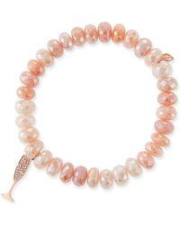 Sydney Evan - 14k Diamond Champagne Flute & Peach Moonstone Bracelet - Lyst