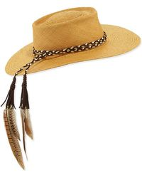 Gladys Tamez Millinery - The Talitha Panama Straw Hat W/ Feathers - Lyst