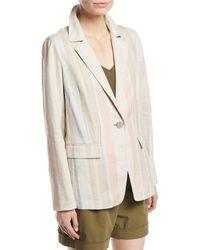 Lafayette 148 New York - Marie Mesa-stripe Linen Jacket - Lyst